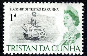 TRISTAN DA CUNHA 1965-67 SG72 QEII 1d. FLAGSHIP OF TRISTAO DA CUNHA  -  MNH