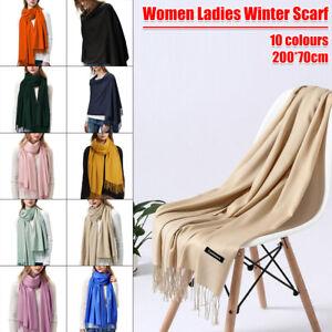 Women Tassels Scarf Winter Cashmere Wool Ladies Shawl Pashmina Wrap Plain Stole