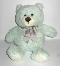 "Animal Adventure Plush Mint Green Teddy Bear Gray Ribbon Bow White Feet 11"" 2018"