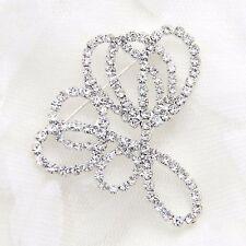 ART DECO RHINESTONE CRYSTAL GLASS WEDDING BRIDAL DRESS SASH BUCKLE PIN BROOCH
