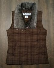 Columbia Down Feather Plaid Vest Women S Small Brown Full Zip Up Faux Fur Collar