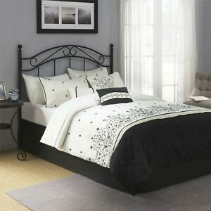 Full/Queen Metal Headboard Bed Bedroom Home Guest Room Traditional Curved Black