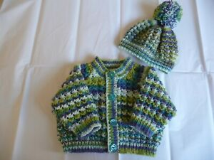 """Hand Knitted Baby Cardigan & Hat ~ 16"""" ~  Boy ~  0 ~ 3 months"""