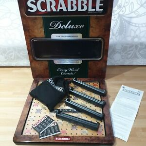 Scrabble Deluxe Board Game Black Tile Lock & Rotating Low Profile Turntable VGC