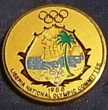 1988 Seoul Olympics Pin NOC Team Pin, Liberia prototype gold. 1 Of 12 approx.