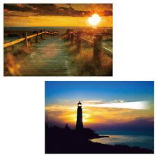 2x LED-Bild mit Beleuchtung Leinwandbild 60x40cm, Timer, Sea