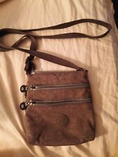 Kipling Keiko Crossbody vinyl sage zipper cloth strap silver hardware new/other