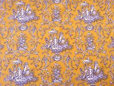 GABRIEL DOUBLE WIDTH YELLOW STOF COTTON CURTAIN FABRIC FRENCH TOILE DE JUE