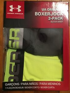 NEW UA Boy's Original  Boxerjock 2-Pack Boys Boxer Brief Youth SMALL Black/Neon