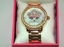 Betsey Johnson Princess Crown Tiara Cat Face Rose Gold Band Watch Bj00131
