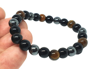 Triple Protection Bracelet Hematite Obsidian Tigers Eye Original Real Gemstone