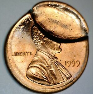 1999 ERROR BROCKAGE + Off Center Lincoln Cent Coin ~ Nice O/C GEM BU  FREE SHIP