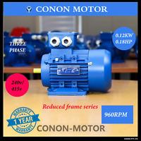 Three phase 0.12KW 0.18HP 6 pole 960rpm 240V/415V reduce frame Electric motor