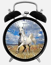 "White Horse Alarm Desk Clock 3.75"" Home or Office Decor W47 Nice For Gift"