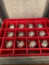 Martha Stewart Ornaments 12 Silver Mercury Glass Embellished Christmas Ornaments