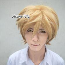 Mixed Blonde 30CM Short Layered Men Fashion Anime Cosplay Hair Wig + Wig Cap