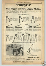 1924 PAPER AD Priest's Hand Clippers Horse Sheep Shearing Machine Hand Power