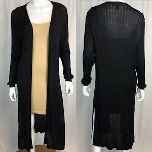 Chelsea & Theodore Women's XL Black 3/4 Sleeve Open Knit Duster Cardigan Sweater