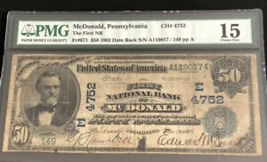 1902-$50DB-the FNB of Mc DONALD, PA-PMG15-A super scarce note. the only Known N.
