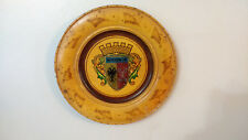 Coat of Arms Carved Wood Plate Dish Wall Hanging Decoration