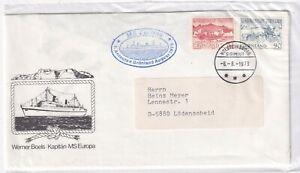 Greenland 80,82 SHIP MS EUROPA POST BOAT GRÖNLAND COVER 1979 LETTRE BRIEF