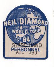 Neil Diamond 1984 World Tour Satin Stagehand Backstage Pass, Unused