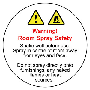 Room Spray Safety warning and usage instruction labels