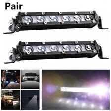 2X  8'' 120W Slim Single Row 6D Spot Beam Off-Road LED Work Light Bar Waterproof