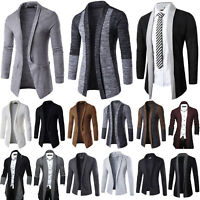 Mens Sweater Slim Long Sleeve Knitted Cardigan Trench Coat Jacket Business Tops