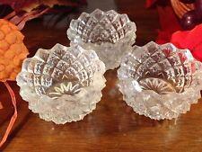 Set 3 Vintage Crystal Open  Salt Cellars -Basket Weave Starburst Bottom EUC!