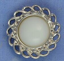 21mm White / Silver Shank Button