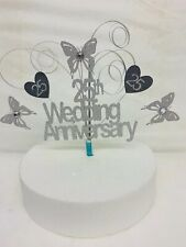 Silver 25th Wedding Anniversary cake topper 25 Years