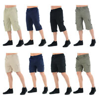 MENS CARGO SHORTS ELASTICATED COMBAT BOYS CASUAL SUMMER BEACH POLY COTTON PANTS
