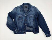 Absolut joy jeans jacket denim giacca uomo usato L used giubbino blu track T5995