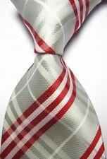 Nuevo Gris Plata Rojo a Rayas Escocés Tartán Estilo Corbata Seda para hombre vendedor del Reino Unido Golf