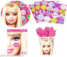 BARBIE PARTY SUPPLIES PACK 40, 8 PLATES, 8 CUPS, 16 NAPKINS, 8 LOOT BAGS