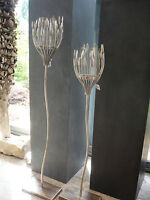 "Casablanca Design Leuchter ""Trevi"" Met.ant.silb./Glas Kerzenhalter H 93 cm 74154"