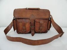 "14"" Real Brown Leather Padded DSLR Camera Bag Laptop MacBook Briefcase Satchel"