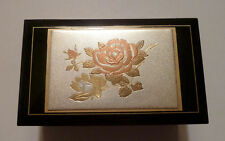 Classy Classic Music Box Engraved Floral Lid Sanyo Japan Mvt. 1970s