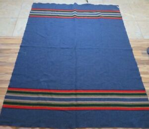 PENDLETON YAKIMA CAMP BLANKET Gray Green Red Gold  Wool Blend Made in USA 83x67