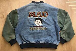 Vintage Mad Magazine Denim Jacket Varsity 1993 90s Dc Comics Bomber Coat XL