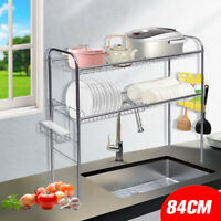 Sliver Dish Dryer Drying Rack Over Sink 2-Tier Drainer Kitchen Storage Holder