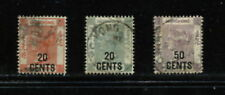 Hong Kong 1885/91 Queen Victoria SURCHARGED SHORT SET  3v.  used  G160