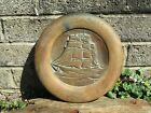 Antique bronze or copper wood mounted ship plaque   Gallion ship   heavy