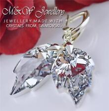 925 Sterling Silver Earrings *LEAF* Crystal Cal 26mm Crystals From Swarovski®