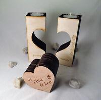 Teelichthalter Holz-Herz mit Gravur individuell gestalten - Geschenk