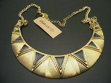 $18 Stephan & Co Aztec Black Enamel Crescent Moon Collar Bib Statement Necklace