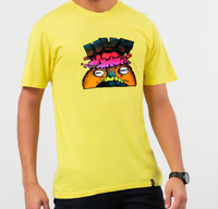 HUF Mens Pulp T-Shirt Yellow Short Sleeve Graphic T-shirt Huf worldwide