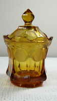 VINTAGE FOSTORIA AMBER GLASS FROSTED COIN CANDY WITH LID 6-1/2""