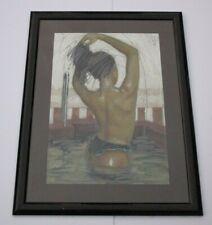 vintage  PAINTING NUDE FEMALE MODEL BATHING SUIT WOMAN PORTRAIT LARGE MODEL